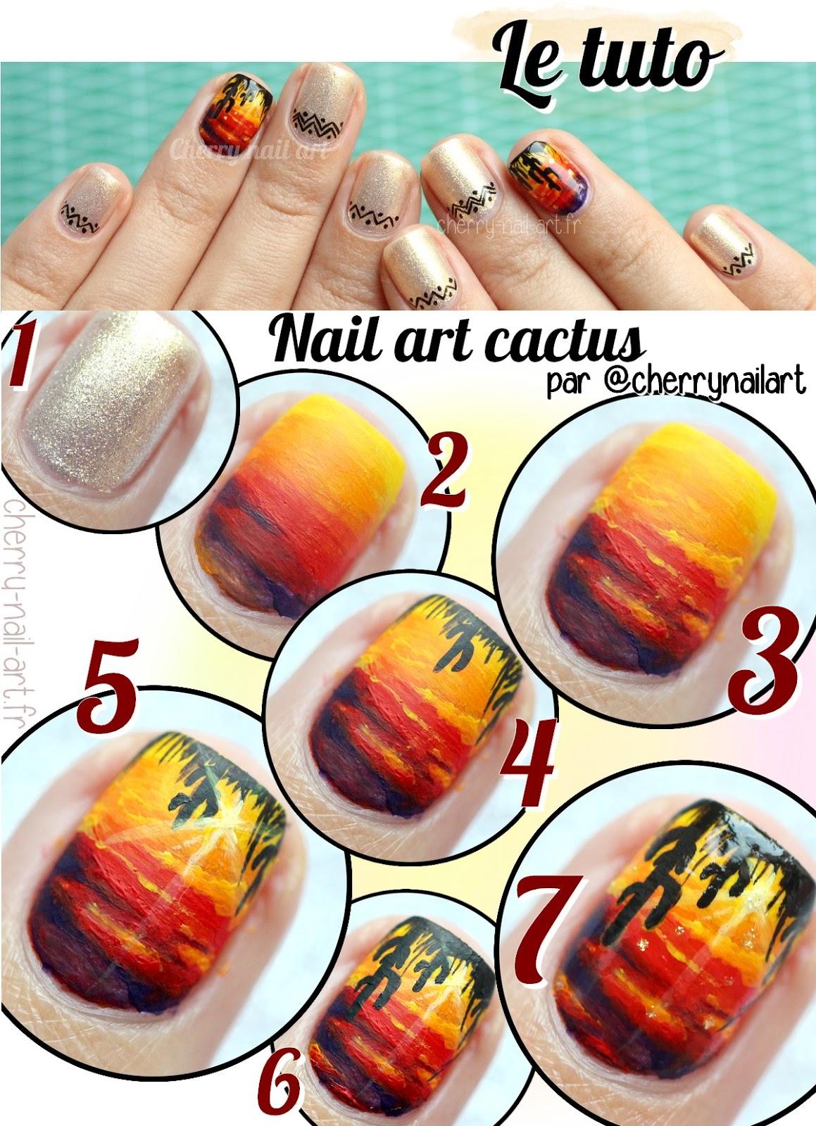 tuto-nail-art-coucher-de-soleil-desert-cactus-sunset-été
