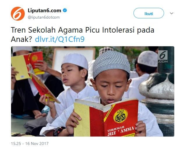Liputan6.com Gunakan Ilustrasi Gambar Anak Muslim Baca Juz Amma Soal Intoleransi, Aleg Muslim ini Protes Keras!