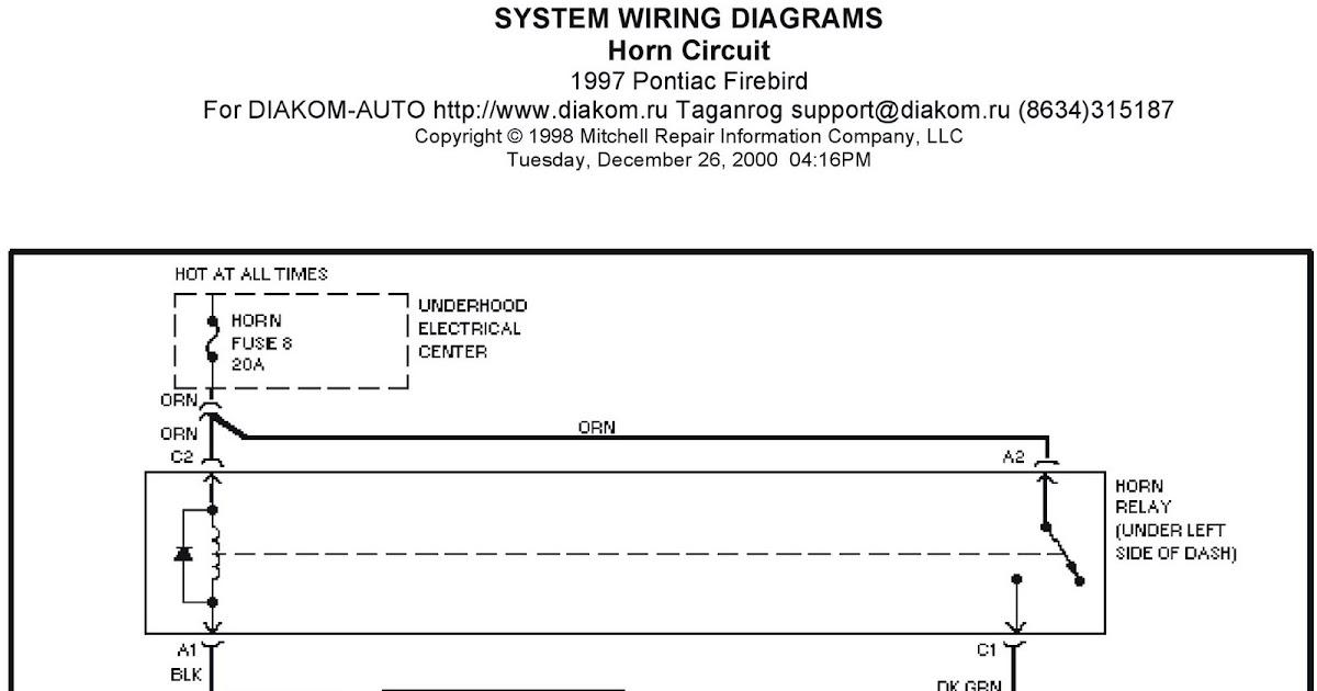 1997 Pontiac Firebird System Wiring Diagrams Horn Circuit