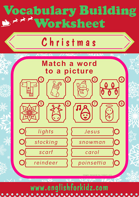Printable Christmas word to picture matching worksheet
