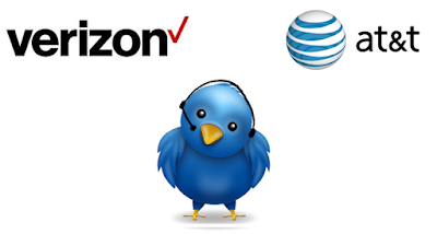 Verizon logo, AT&T Logo and Twitter Bird