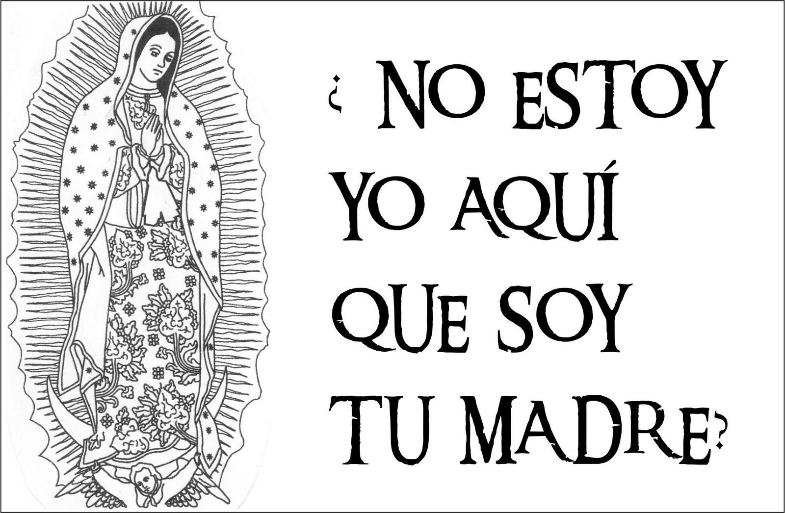 Tarjetas Y Oraciones Catolicas Virgen De Guadalupe Blanco Y Negro