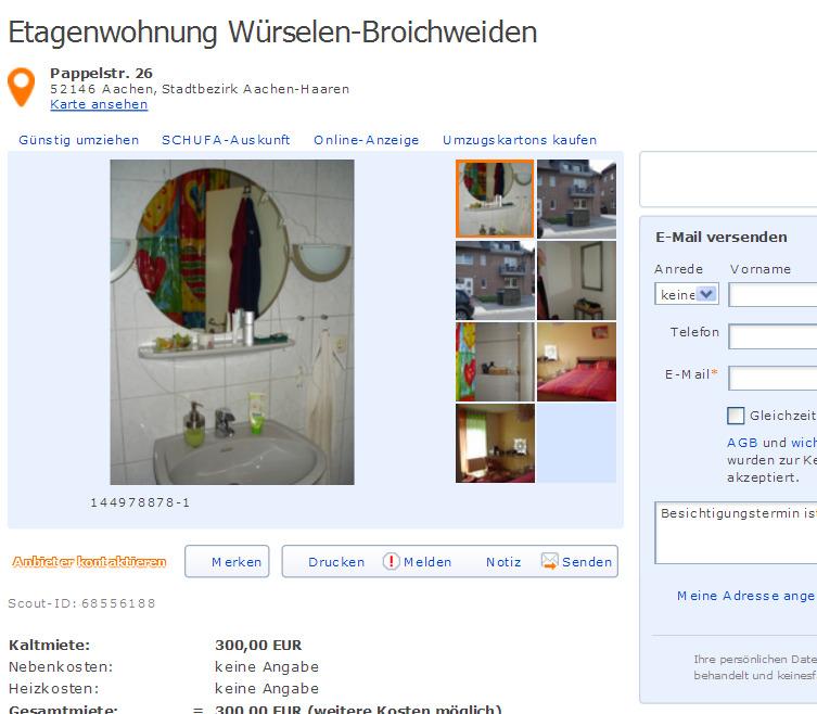 Etagenwohnung WrselenBroichweiden Pappelstr 26 52146