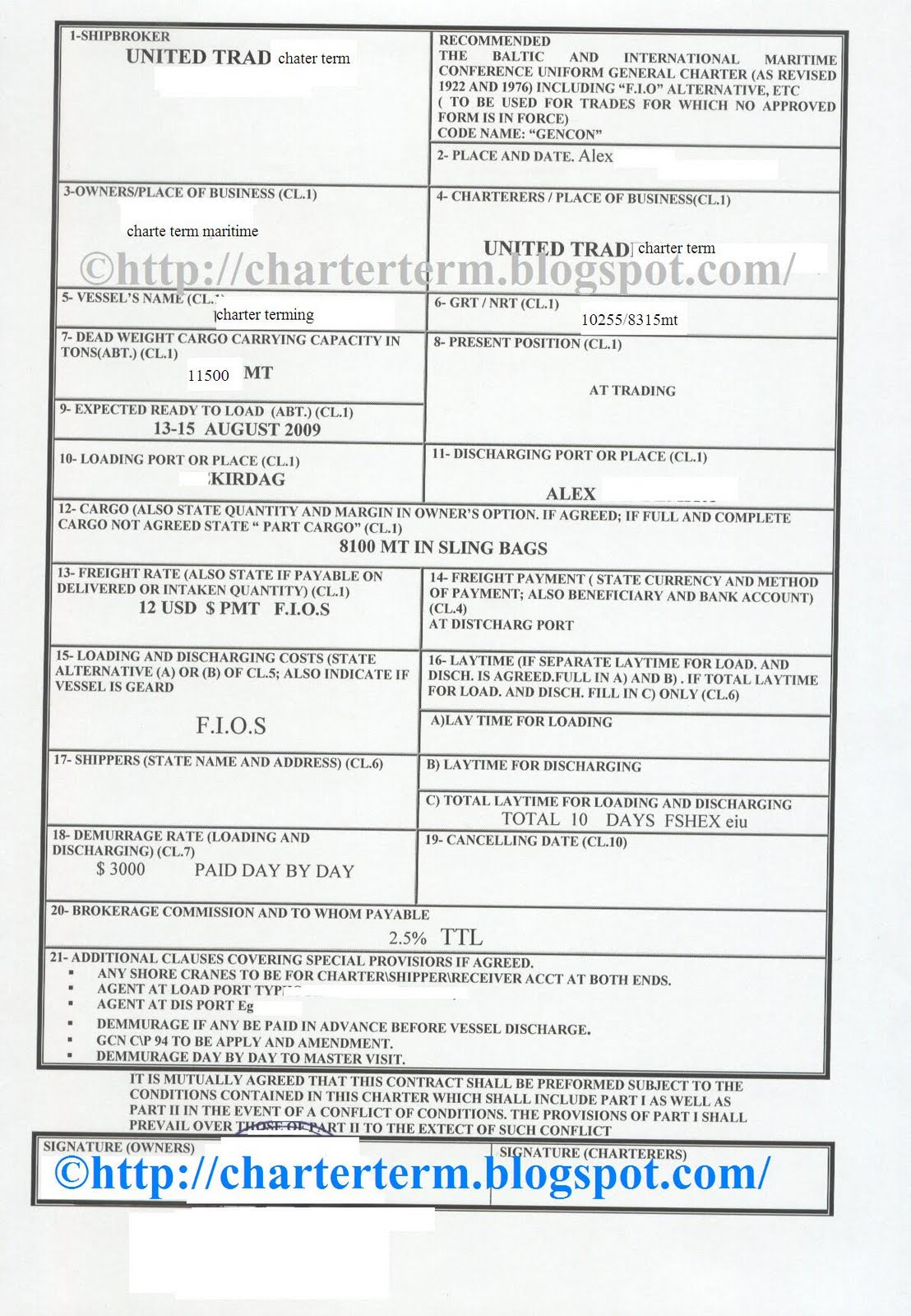 Bill Of Lading Example – Sample of Bill of Lading Document