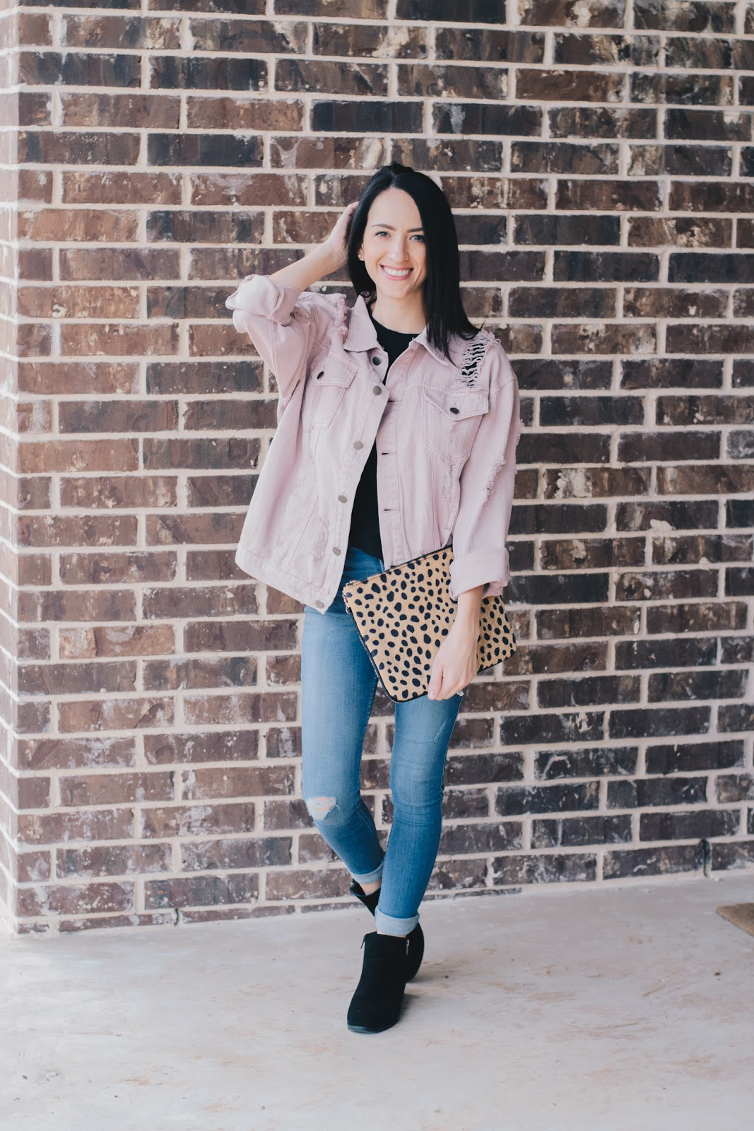 Casual street style in blush denim jacket and booties