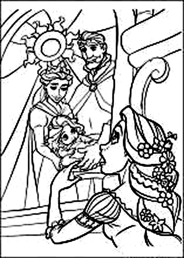 Tangled Cartoon Coloring Pages King And Queen Are Parents Rapunzel