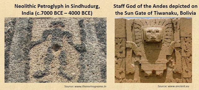 9000-year-old Sindhudurg petroglyph depicting the Staff God of the Andes