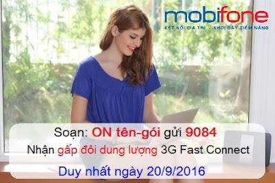 Mobifone khuyến mãi nhân đôi data 3G Fast Connect Mobifone
