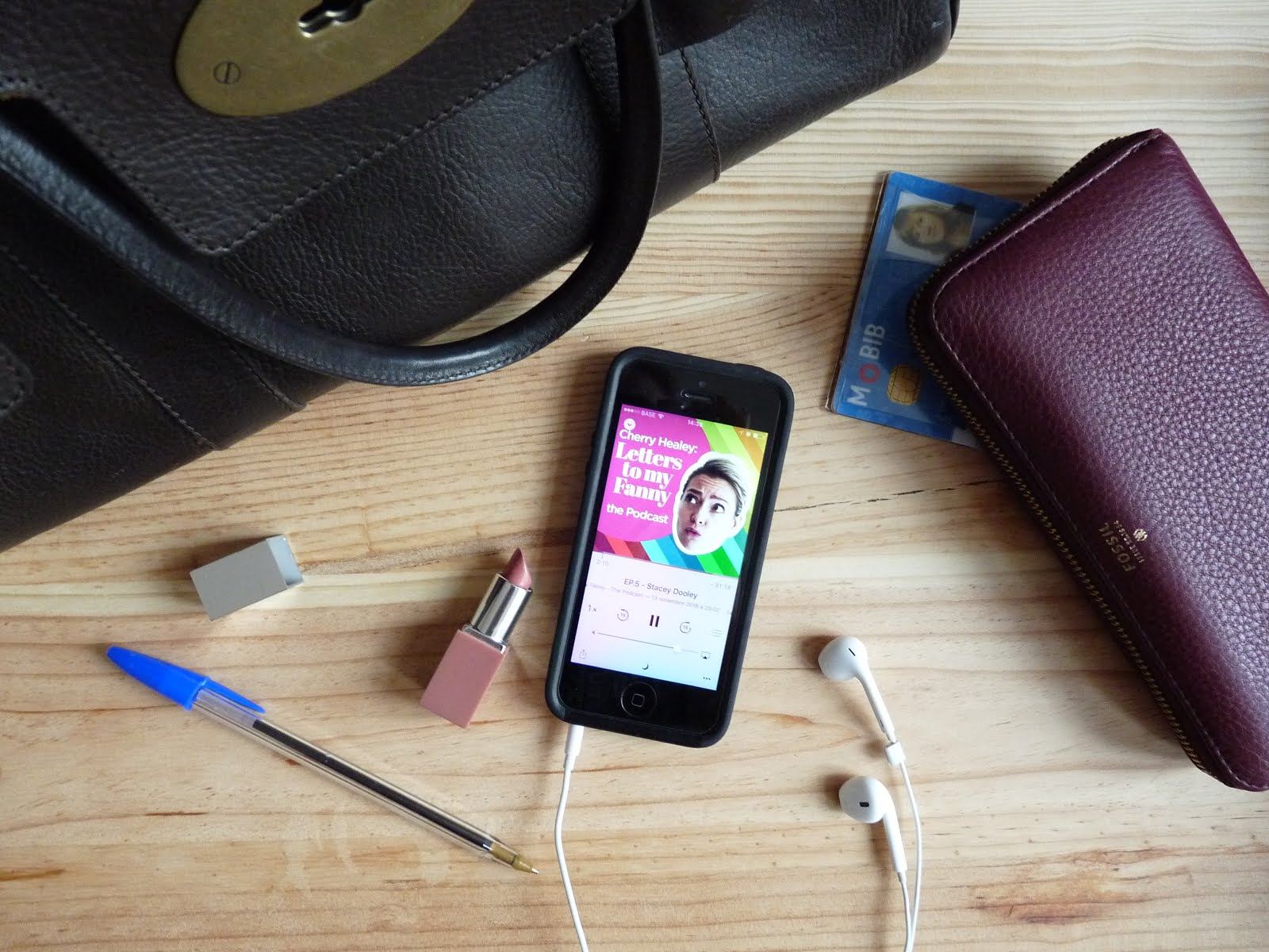 mulberry bayswater handbag, clinique nude pop lipstick, iphone 5, Cherry Healey's Letters to my fanny podcast, apple earphones, fossil purse, blue ink ball pen