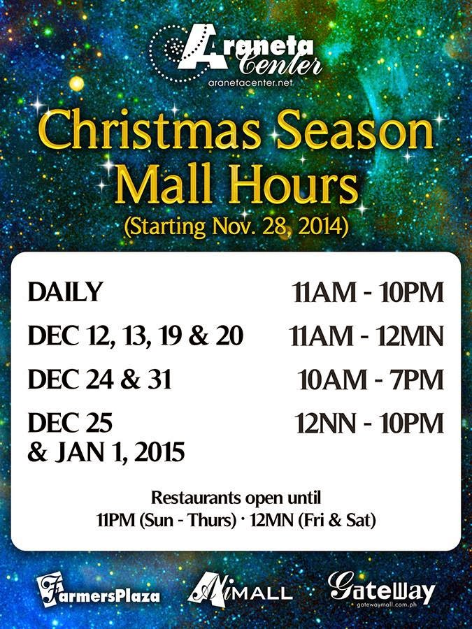 Araneta Center Cubao Mall Hours Schedule Christmas 2014