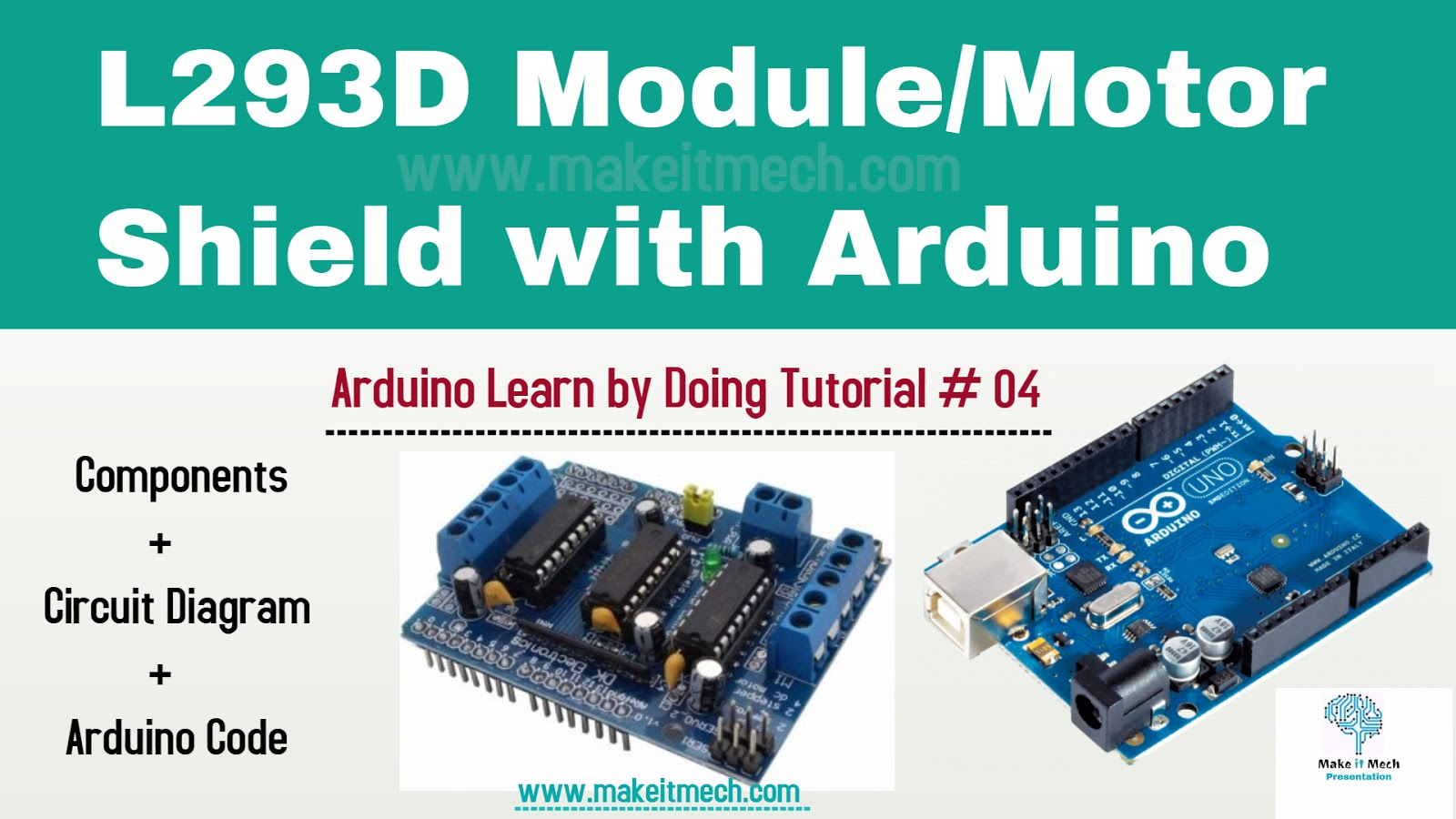 How To Use L293d Module Motor Shield With Arduino Make
