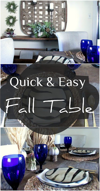 Quick and easy fall / autumn entertaining using animal print zebra striped dishes.