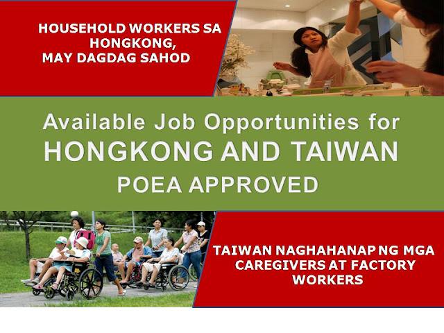 POEA APPROVED JOBS FOR HONGKONG AND TAIWAN