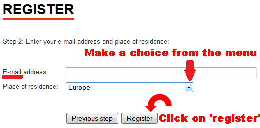 Registration Screen 'E-mail address and Place of residence'