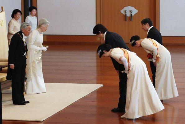 Crown Princess Masako (wearing the Pearl Sunburst Tiara and the Order of the Precious Crown. Princess Kiko wearing her Wedding Tiara