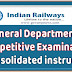 Railway Board Order: General Departmental Competitive Examination — Consolidated instructions