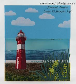 #SDBH, Lighthouse, High Tide, Pattern Party Masks, Split Card, #thecraftythinker, Stampin Up Australiia Demonstrator, Stephanie Fischer, Sydney NSW