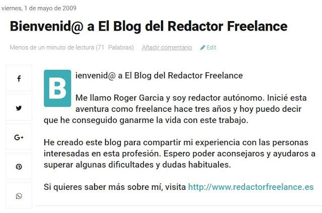 primer artículo de el blog del redactor freelance