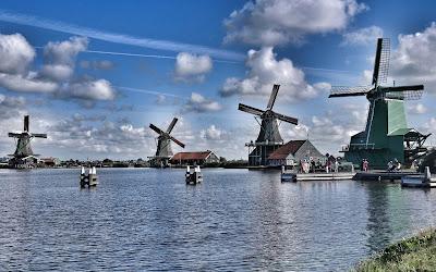 wooden windmills widescreen resolution hd wallpaper