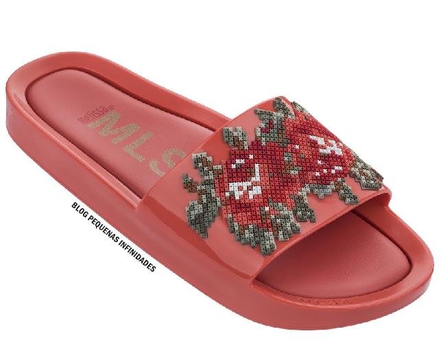 MELISSA BEACH SLIDE FLOWER VERMELHA