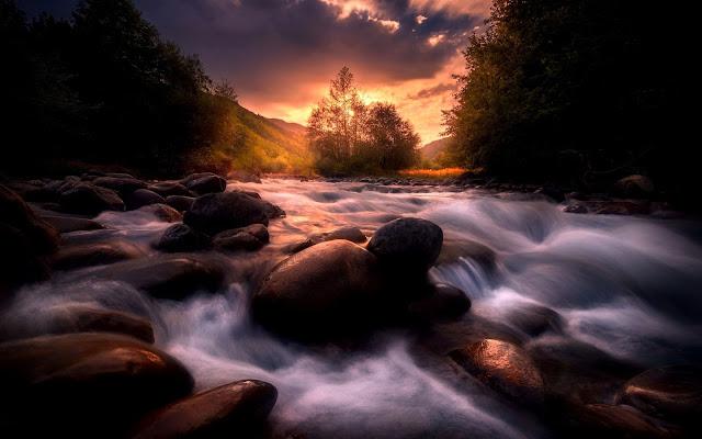 natura, rapide, sassi, massi, pietre, acqua,