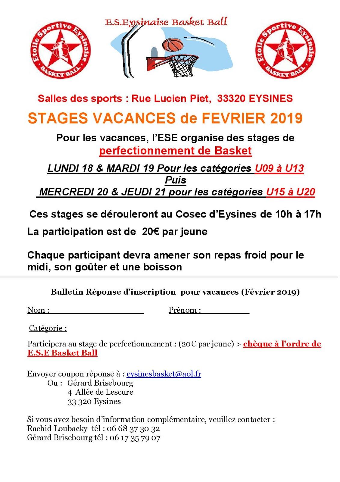 Etoile Sportive Eysinaise Basket Ball Janvier 2019