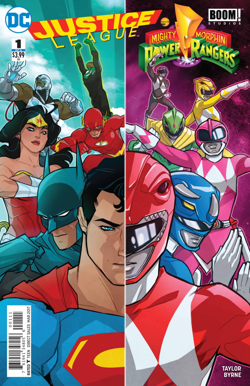 chris is on infinite earths: justice league/power rangers #1 (2017)