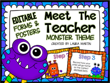 Monsters Back to School ideas for Meet the Teacher and Open House