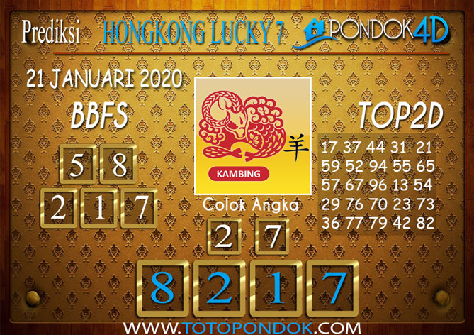 Prediksi Togel HONGKONG LUCKY7 PONDOK4D 21 JANUARI 2020