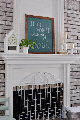 Farmhouse Style Living Area, White, Chalkboard, DIY, Tools