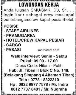 Lowongan Kerja Staff Airlines, Pramugari serta Crew Kapal