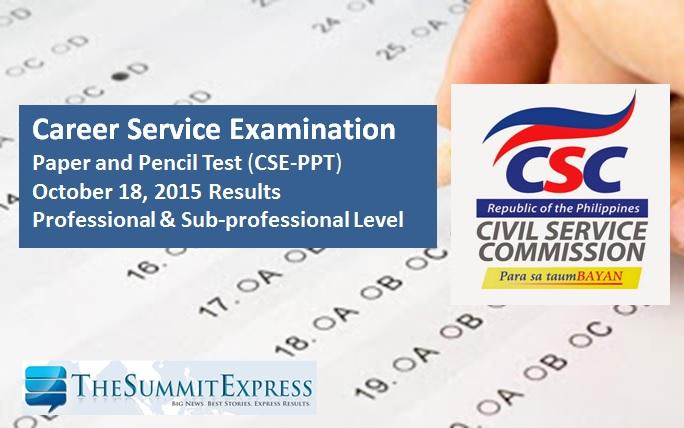 Civil service exam results October 18, 2015 CSE-PPT