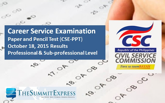 Civil service exam results October 18, 2015 CSE-PPT