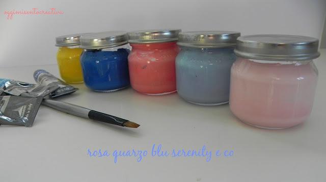 esagoni in cartone dipinti con colori acrilici