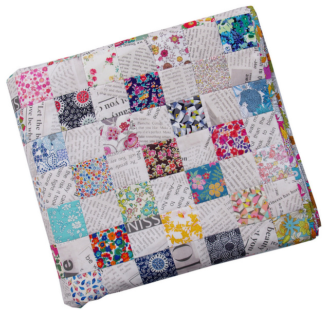 Liberty Tana Lawn and Collage Checkerboard Quilt by Red Pepper Quilts