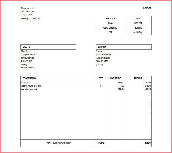 invoice template pdf invoice template doc service invoice template