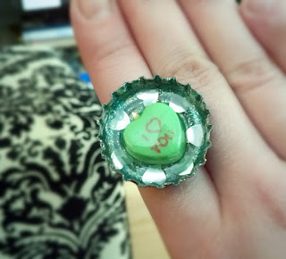 Candy heart bottle cap ring!