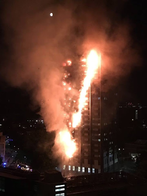 Huge fire engulfs tower block in London