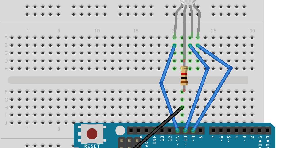 復興國中 科學天地: Arduino的教學14-RGB led燈(共陰極)的使用