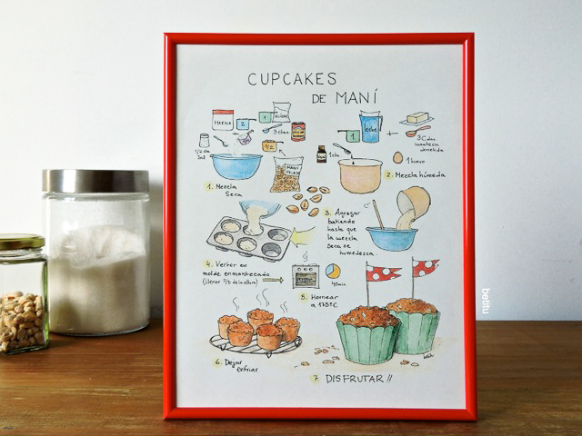 Peanut Cupcakes framed 20x25cm - illustrated by betitu