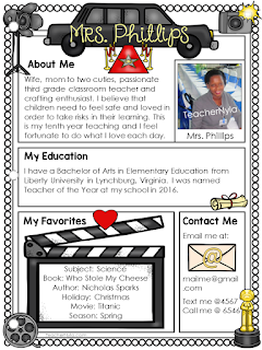 Hollywood themed Meet the Teacher letter editable template