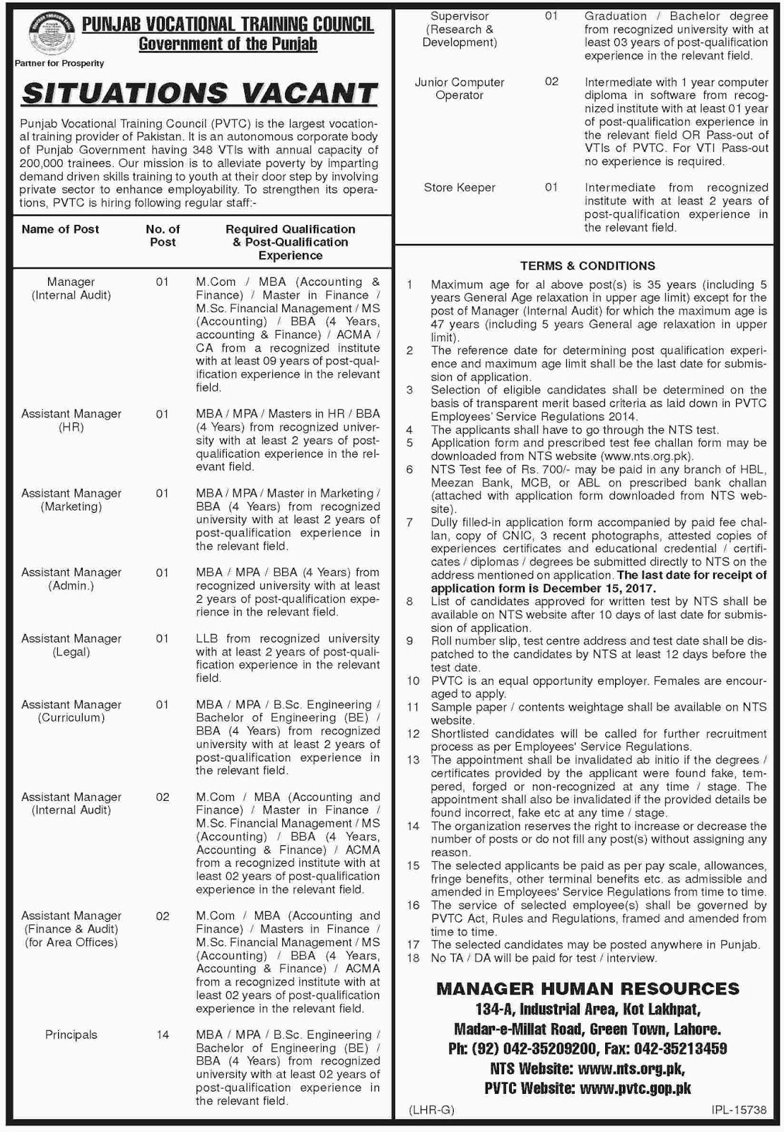 Jobs In Punjab Vocational Training Council Dec 2017