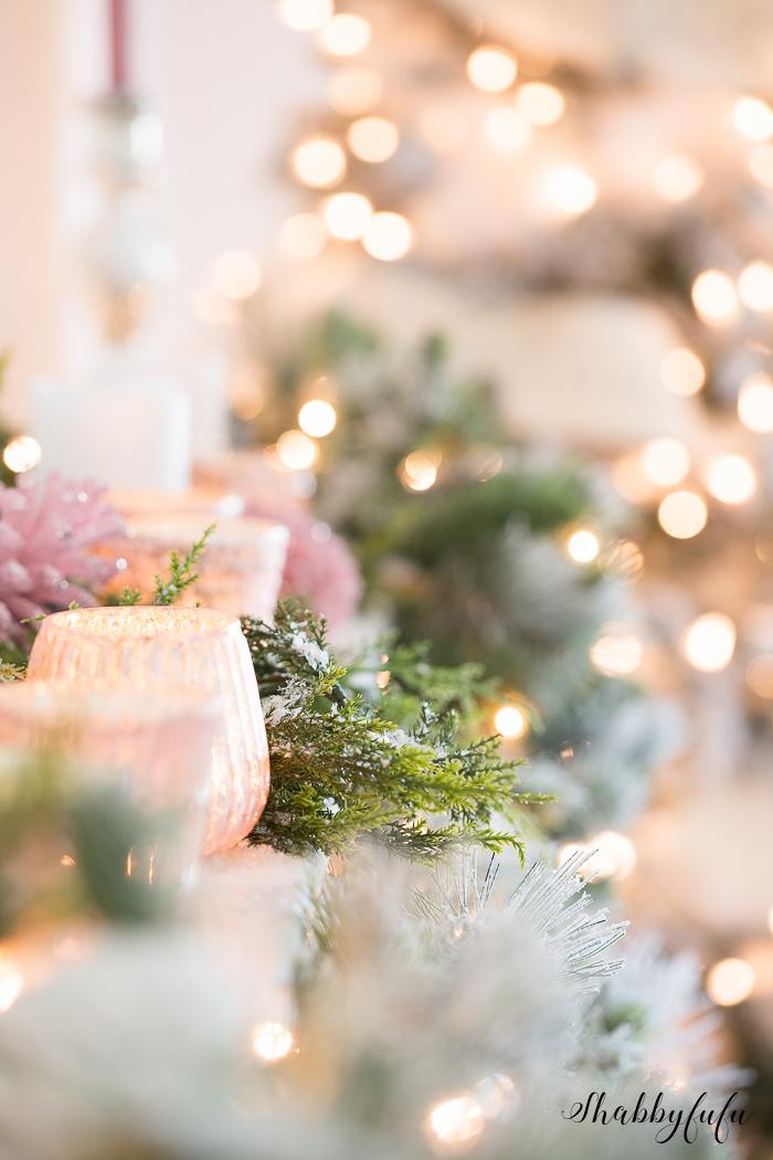 christmas mantel pink bokeh