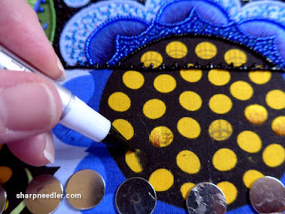 Japanese Bead Embroidery Project Wild Child: Testing a fabric marker in order to make little gold discs at the bottom of the project disappear