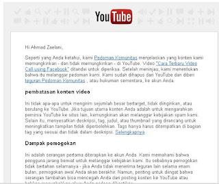 Pesan peringatan dari youtube yang masuk ke email