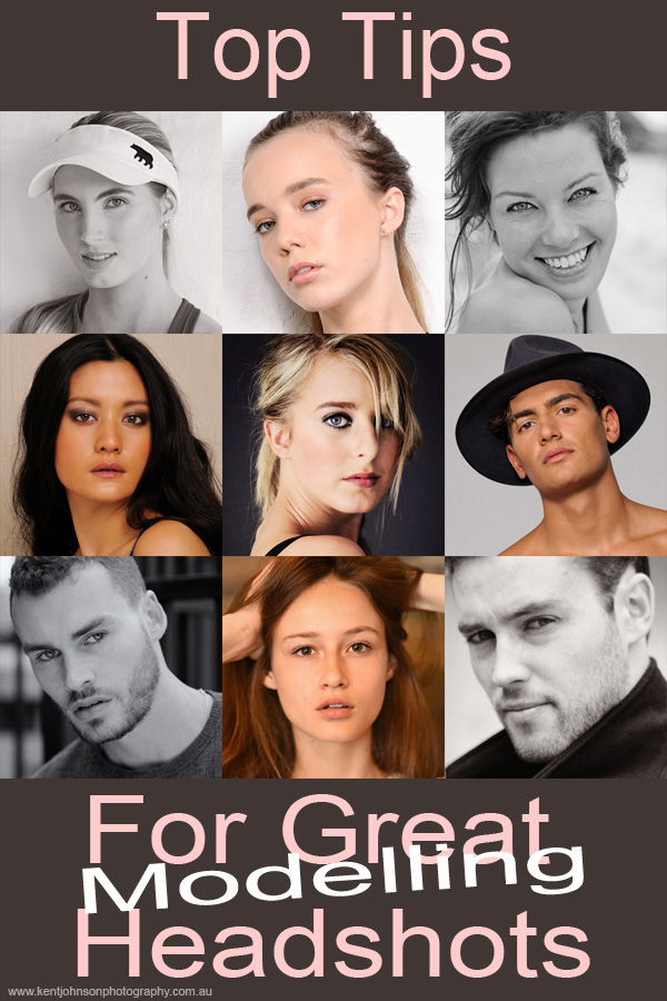 A selection of headshot photography to illustrate how to take modelling portfolio headshots - Photos by Kent Johnson.