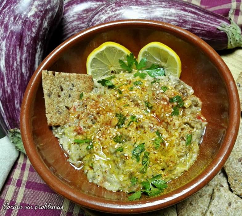 cocina sin problemas: Dip de Baba ghanoush con crackers de espelta