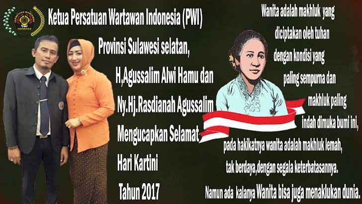 Ketua PWI Sulsel dan Ketua IKWI Ucapkan Selamat Hari Kartini 2017
