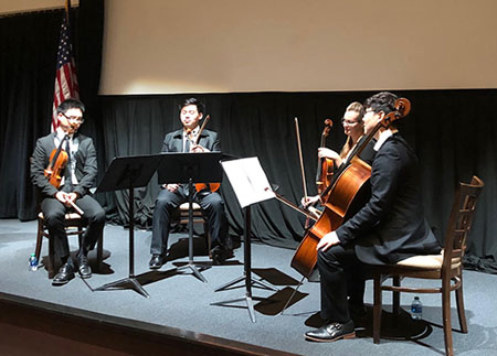 "String quartet (UCI/CSUF) performs one of Virginia's favorites, by Haydn, Opus 76, ""Quinten"""