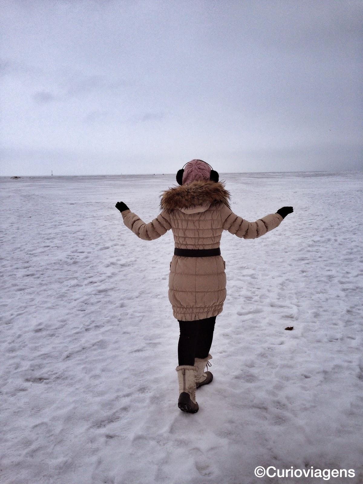 Andando sobre o Golfo da Finlândia gongelado
